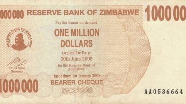 1000000 bill from Zimbabwe